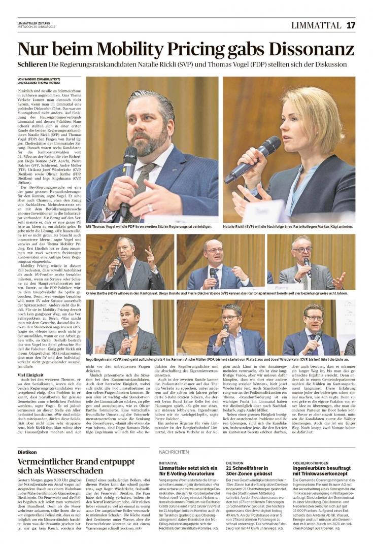 Podiumsdiskussion des HEV Limmattal mit Kantonsratskandidaten